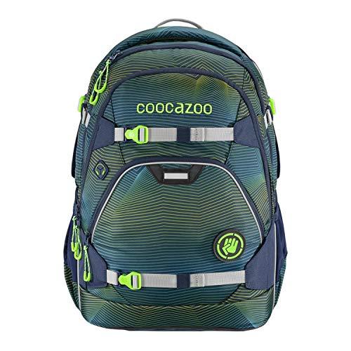 coocazoo Schulrucksack ScaleRale Soniclights Green blau-grün, ergonomischer Tornister, höhenverstellbar mit Brustgurt und Hüftgurt für...
