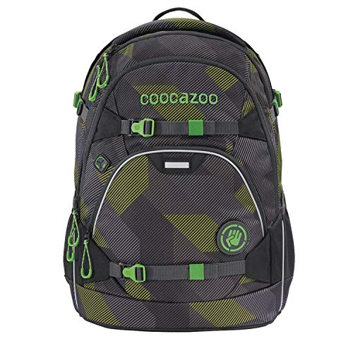 coocazoo Schulrucksack ScaleRale Polygon Bricks Grey grau-grün, ergonomischer Tornister, höhenverstellbar mit Brustgurt und Hüftgurt für...