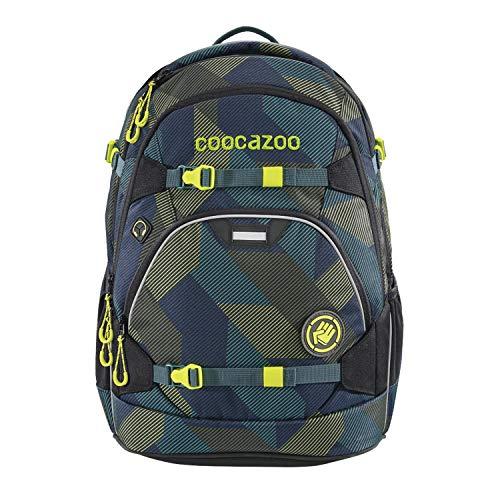 coocazoo Schulrucksack ScaleRale Polygon Bricks blau-grau, ergonomischer Tornister, höhenverstellbar mit Brustgurt und Hüftgurt für...